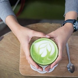 Green tea with almond milk, 1 great tea and milk!